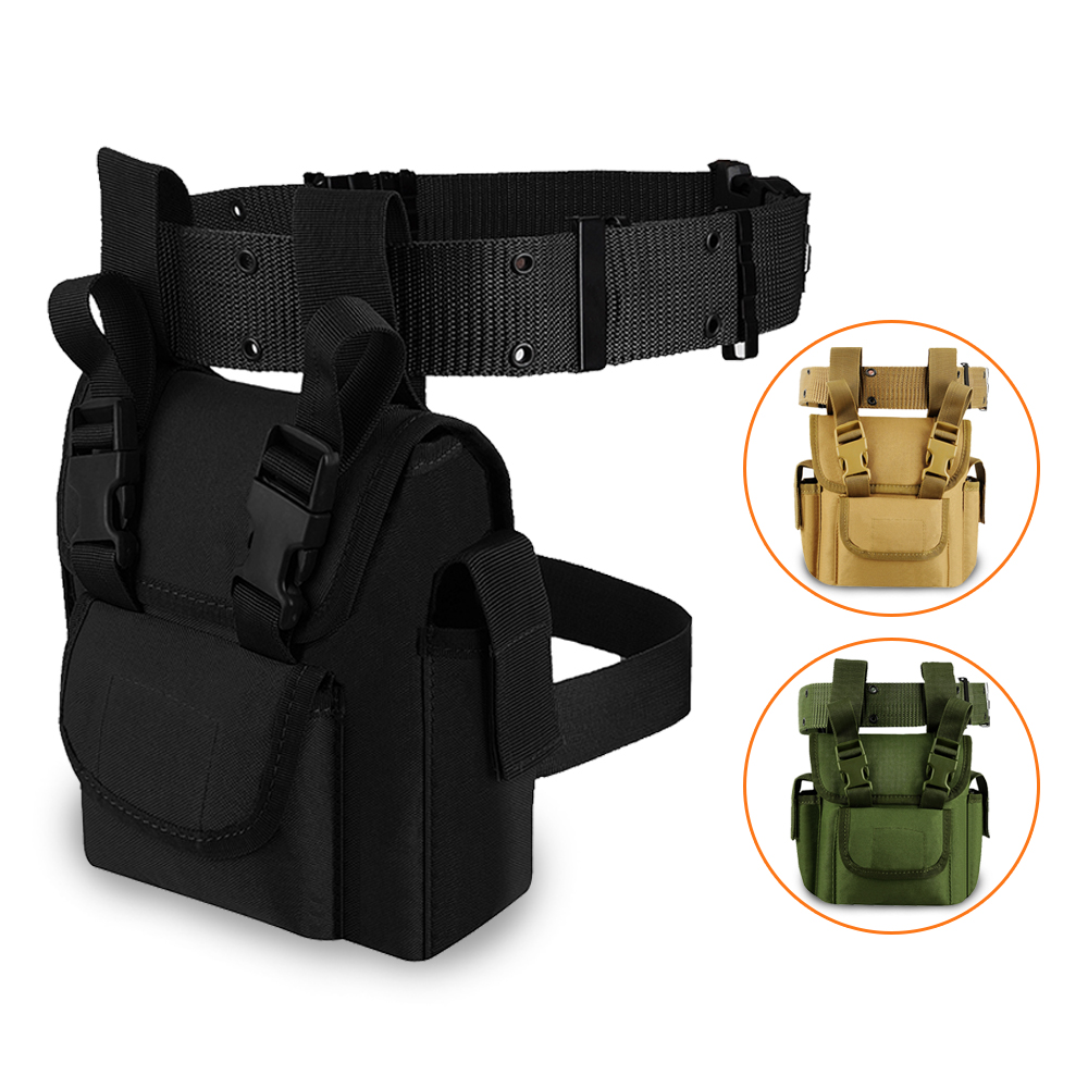 Tactical Drop Leg Pouch With Belt Men Canvas Waist Bag Military Leg Panel Utility Pouch For Outdoor Hiking Cycling Hunting