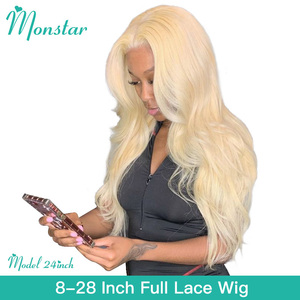 Dark Roots Ombre Blonde 613 1B 150 Density Short Bob Full Lace Indian Human Hair Bang 360 Full Head Lace Wigs 150 180(China)
