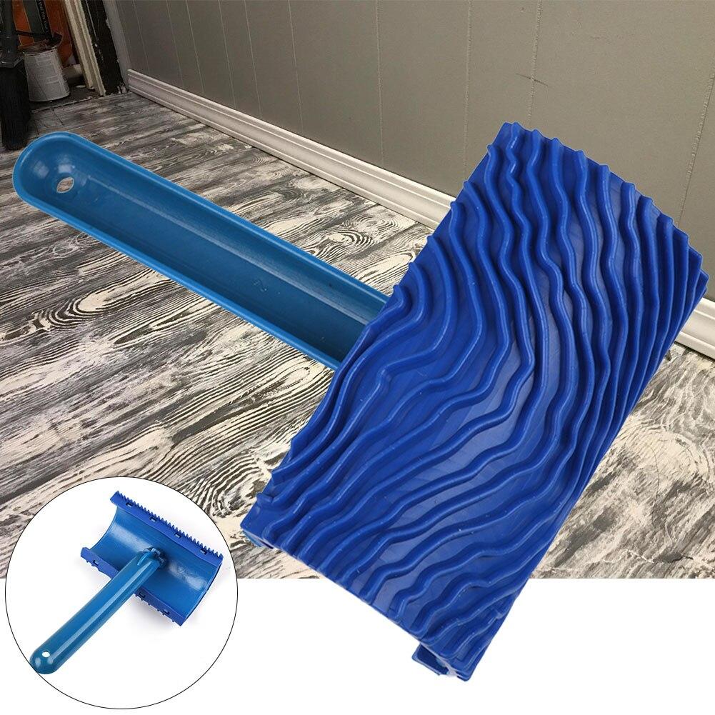 Кисть DIY резина, окрашенная Роллерная стена, эмаистическая ручка, деревянный узор, прочная имитация художественного украшения, Синий