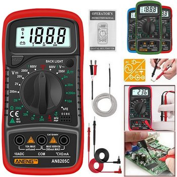 AN8205C Digital Multimeter AC/DC Ammeters Volt Ohm Tester Meter Multimetro With Thermocouple LCD Backlight Portable 2020 image