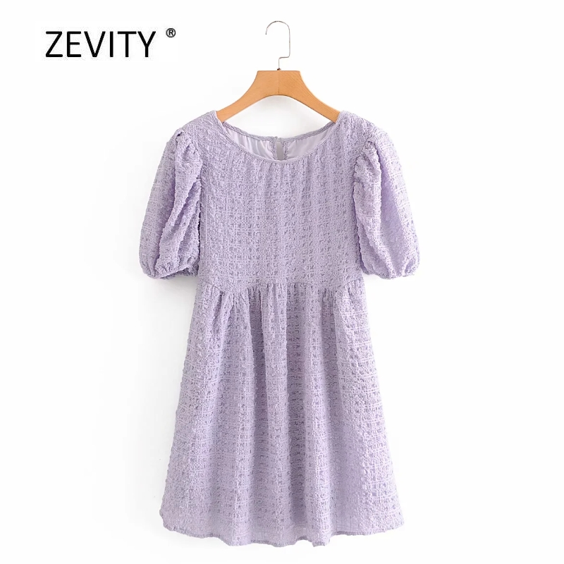 Women elegant pleats puff sleeve texture high waist casual slim mini dress Lady o neck summer Vestidos Chic party Dresses DS4069