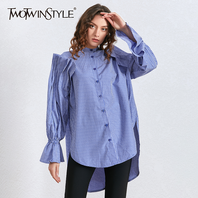 TWOTWINSTYLE Plaid Ruched Ruffle Stand Collar Flare Sleeve Irregular Hem Casual Oversized Shirts Female 2020 Spring Fashion New