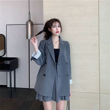Bella philosophy 2020 spring women solid blazer suit female notched two-piece suit office lady double breasted grey black jacket
