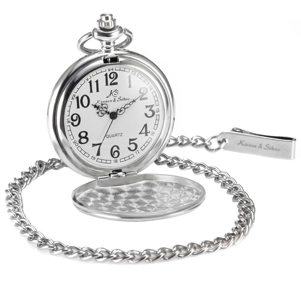 2020 Brand Vintage Silver Smooth Case White Dial Analog Quartz Relogio Key Long Chain Pendant Men Pocket Watch Jewelry Gift
