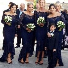 Navy Blue Lace BridesMaid Dresses Illusion Off The Shoulder Boat Neck Long Sleeves Mermaid Bridesmaid Gowns gaun pesta dewasa
