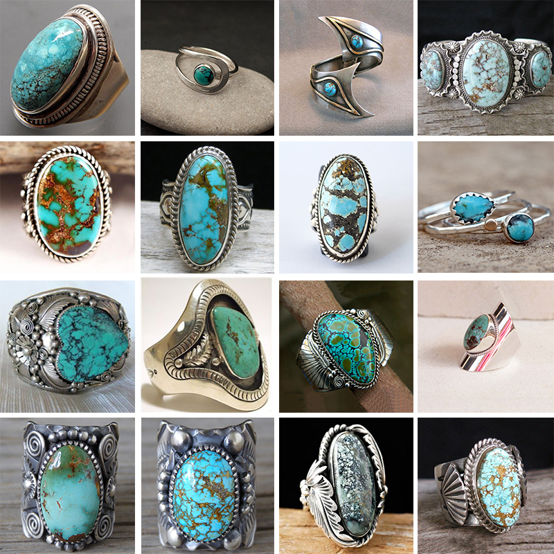 Bohemian Ethnic Three Blue Turquoises Finger Ring For Women Retro Jewelry 2019 Rings <font><b>Wholesale</b></font> <font><b>Lots</b></font> <font><b>Bulk</b></font> Z3Q706 image