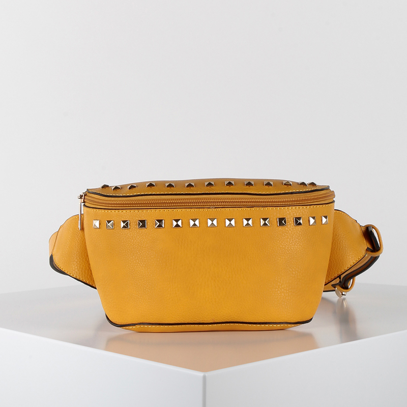 Solada Yellow Faux Leather Waist Bag With Studs
