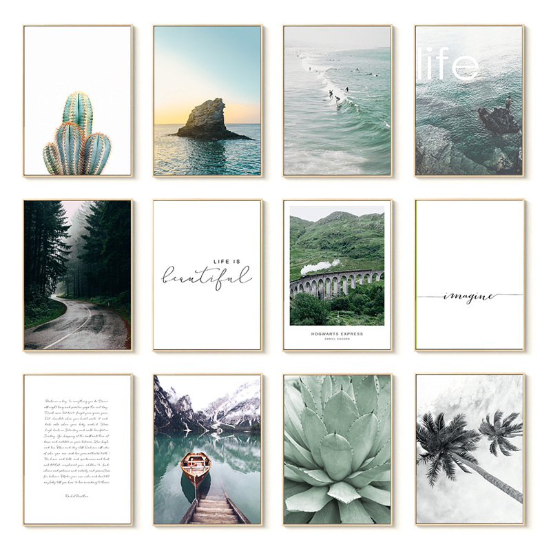 Home Garden Decoration Green Plant Cactus Coconut Tree Boat Letter landscape Nordic Painting Core Wall Art Living Room Poster