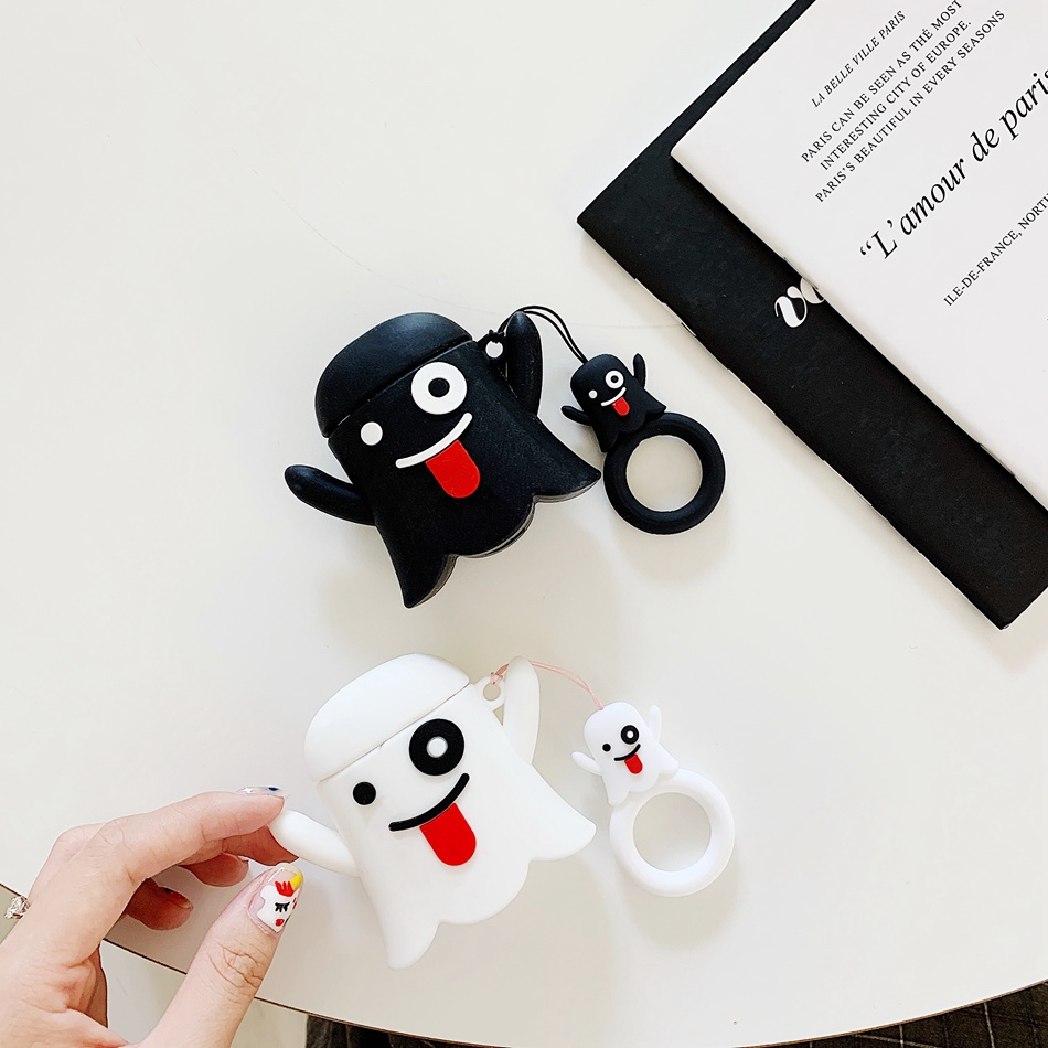 Earphone Case For <font><b>Airpods</b></font> 2 Case Silicone Bear Cat Pig Cartoon Headphones Cover For Apple Air pods 1 Case For Earpods Key ring image
