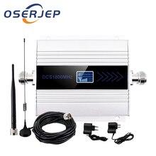 OSERJEP ชุด 4G LTE สัญญาณมือถือ Booster Repeater 1800 MHz โทรศัพท์มือถือ Cellular GSM 1800 โทรศัพท์มือถือจอแสดงผล LCD + sucker เสาอากาศ