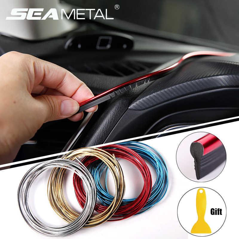 Voiture style universel bricolage Flexible intérieur moulures de garniture accessoires de voiture décoration bande tableau de bord 5M bord autocollant