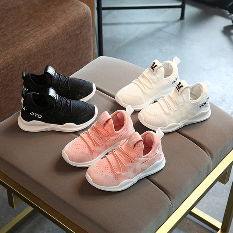 Little Girl Boy Sneakers Solid Black Pink White Air Mesh Breathable Autumn Casual Shoes Soft Sole Slip On Shoes AELNN446 in Sneakers from Mother Kids