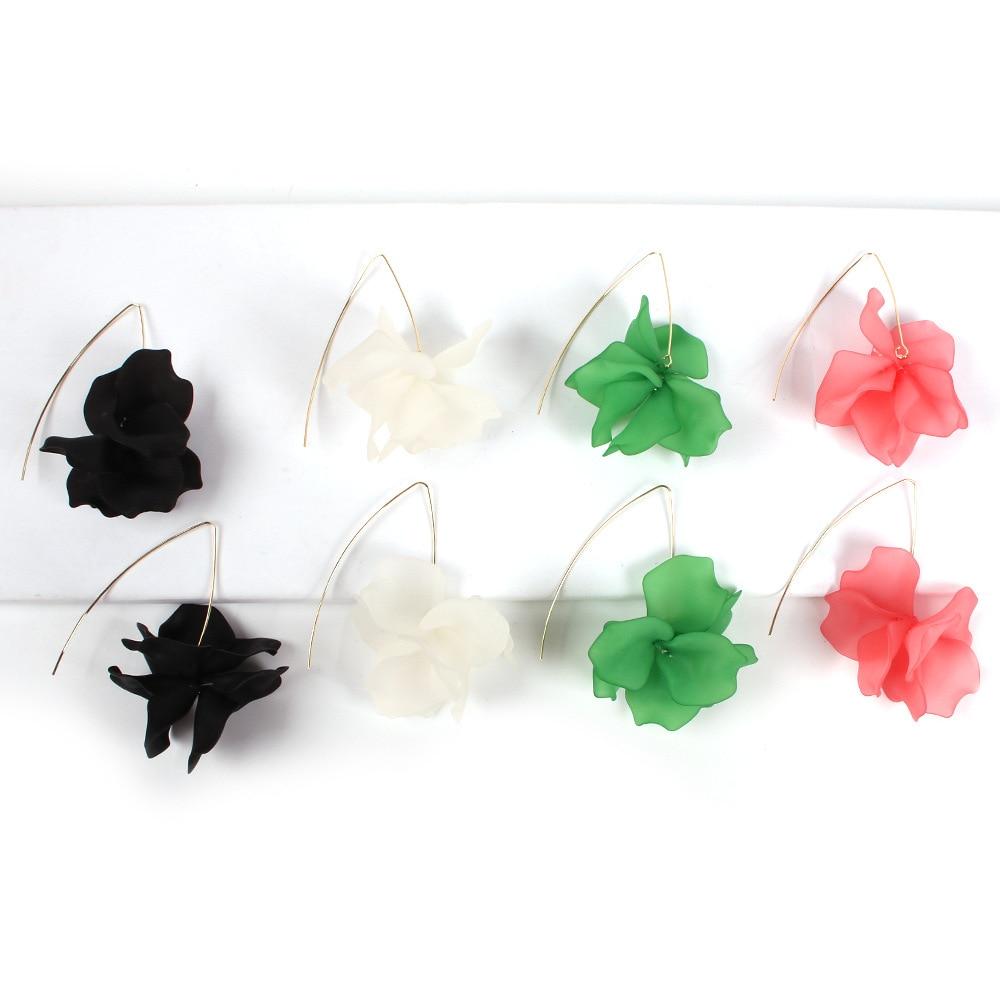 HIYONG Multicolored Fashion Resin Flower Long Earrings 2019 New Designs Bohemia Handmade Petal Dangle Earrings For Women Gift in Drop Earrings from Jewelry Accessories
