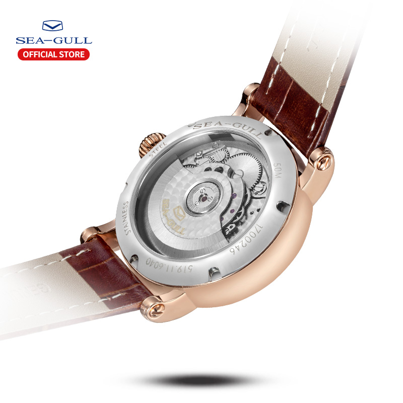 Image 3 - 海カモメビジネス腕時計メンズ機械式腕時計カレンダー 30 メートル防水レザーバレンタイン男性腕時計 519.11.6040機械式時計   -