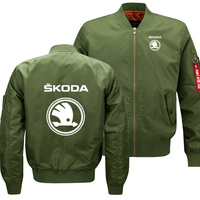 Mens Flying jacket Wintter Warm Slim Fit Fly Pilot jacket men for Skoda Car Logo Sweatshirt Hip Hop Harajuku Male Clothing