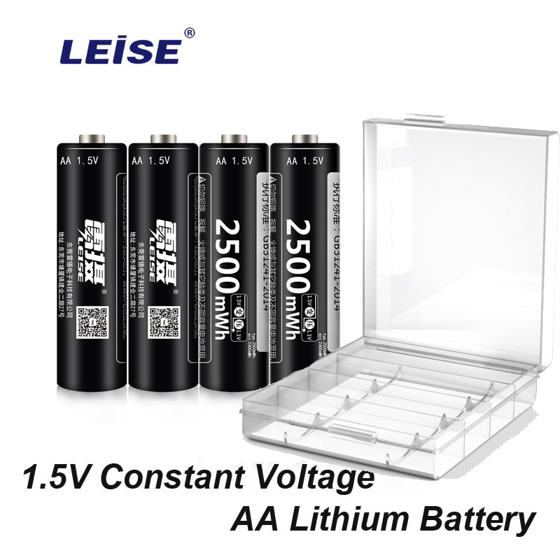 Leise <font><b>1.5V</b></font> <font><b>AA</b></font> 2500mWh Rechargeable <font><b>Lithium</b></font> <font><b>Battery</b></font> 2a Li-ploymer <font><b>batteries</b></font> High Capacity Constant Voltage with <font><b>Battery</b></font> case image