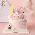 Rosa Bunny Zug Baby Dekoration Glücklich Geburtstag Kaninchen Mond Kuchen Topper für Kinder Kid Partei Backen Liefert Schöne Geschenke