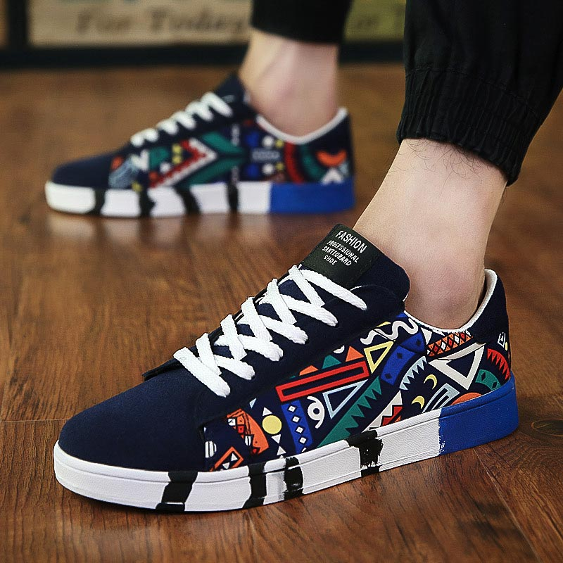 Low Canvas Men's Sports Shoes Running Men Shoes Sneakers Man Sport Shoes Men Tennis Men's Breathable Blue Colourful Basket E-353