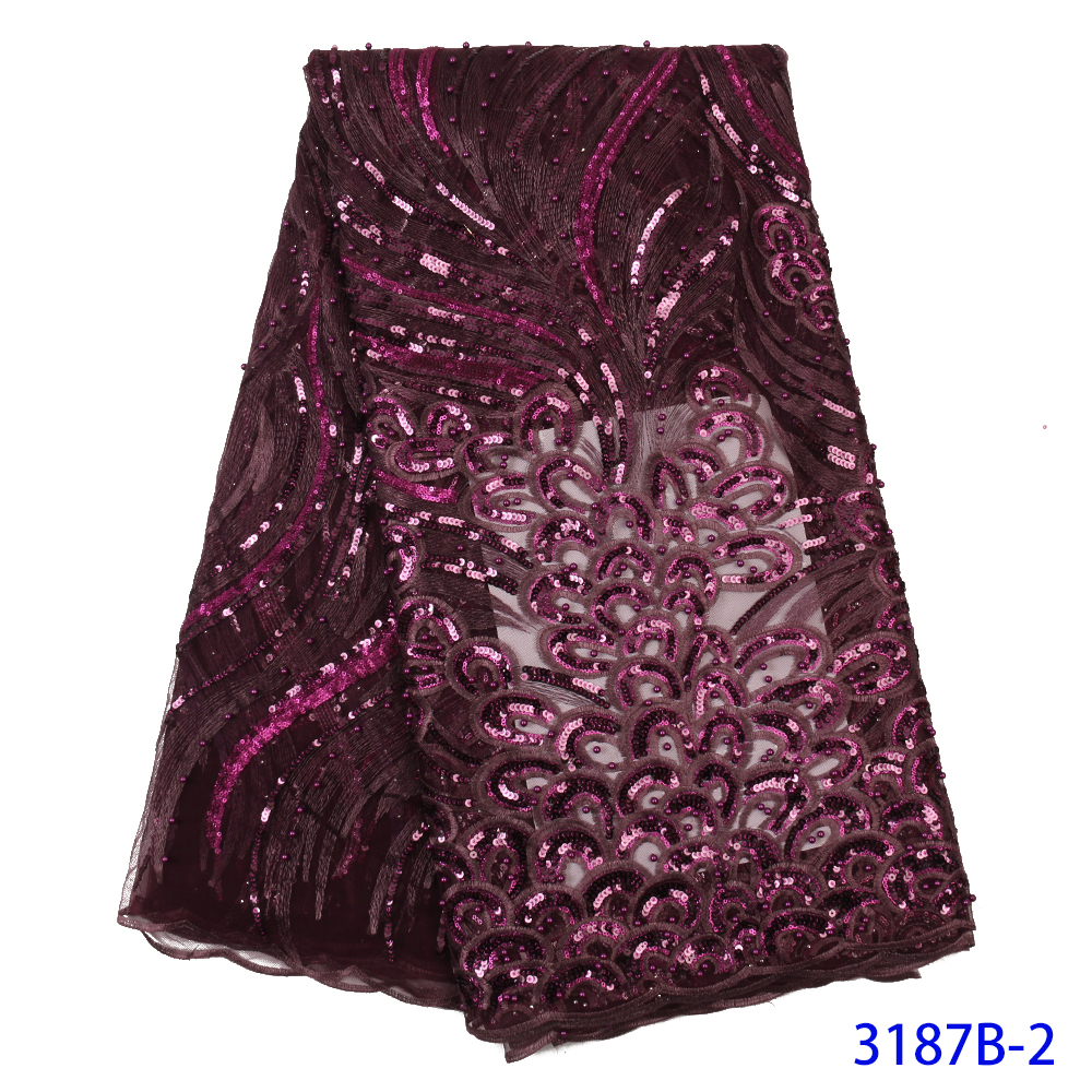 2020 High Quality French Nigerian Sequins Net Lace,African Tulle Mesh Sequence Lace Fabric For Party Dress 5yards/lot