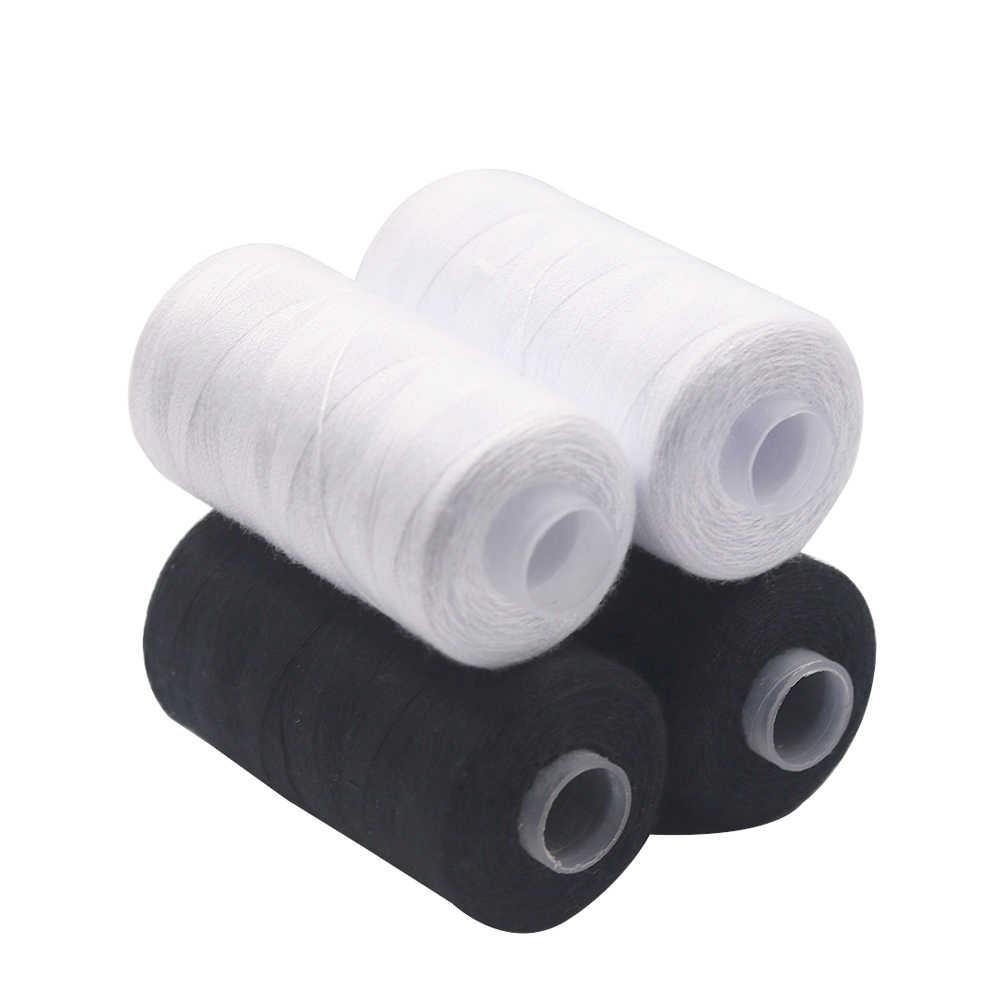 D & D 2 Pcs 500M Sterke En Duurzaam Naaigaren Voor Naaien Polyester Draad Kleding Naaibenodigdheden Accessoires wit Zwart