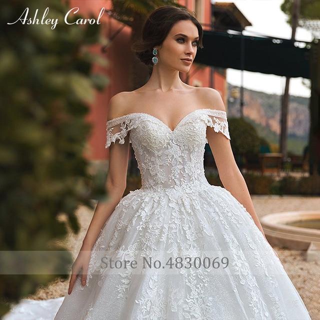 Ashley Carol Ball Gown Wedding Dress 2021 Beaded Sweetheart Cap Sleeve Princess Appliques Lace Up Bride Robe De Mariage Royale 3