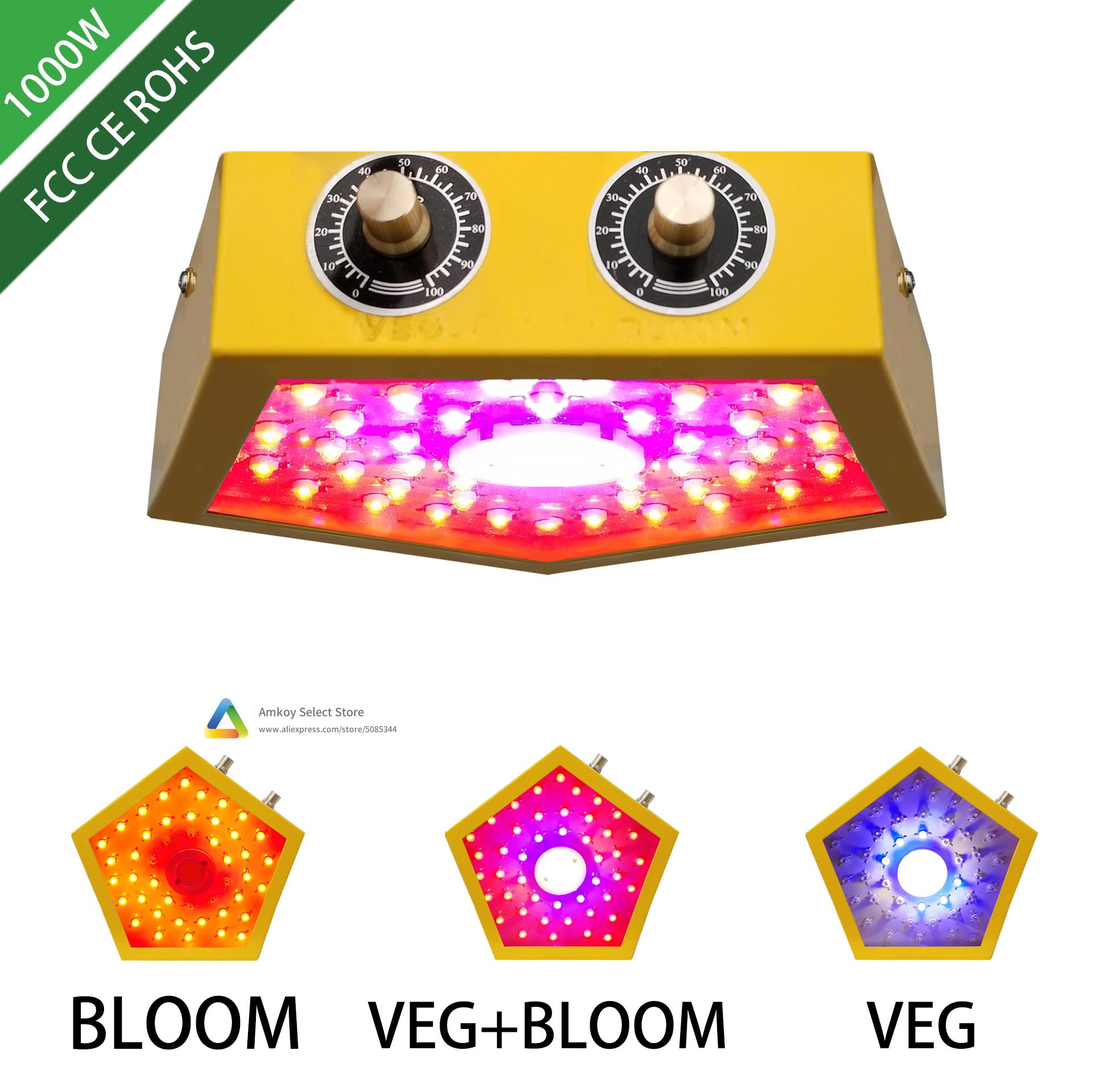 AMKOY 1000W New Design Grow Light Full Spectrum COB Chips For Indoor Medical Plants Grow Ved And Bloom Growing Tent Lamp