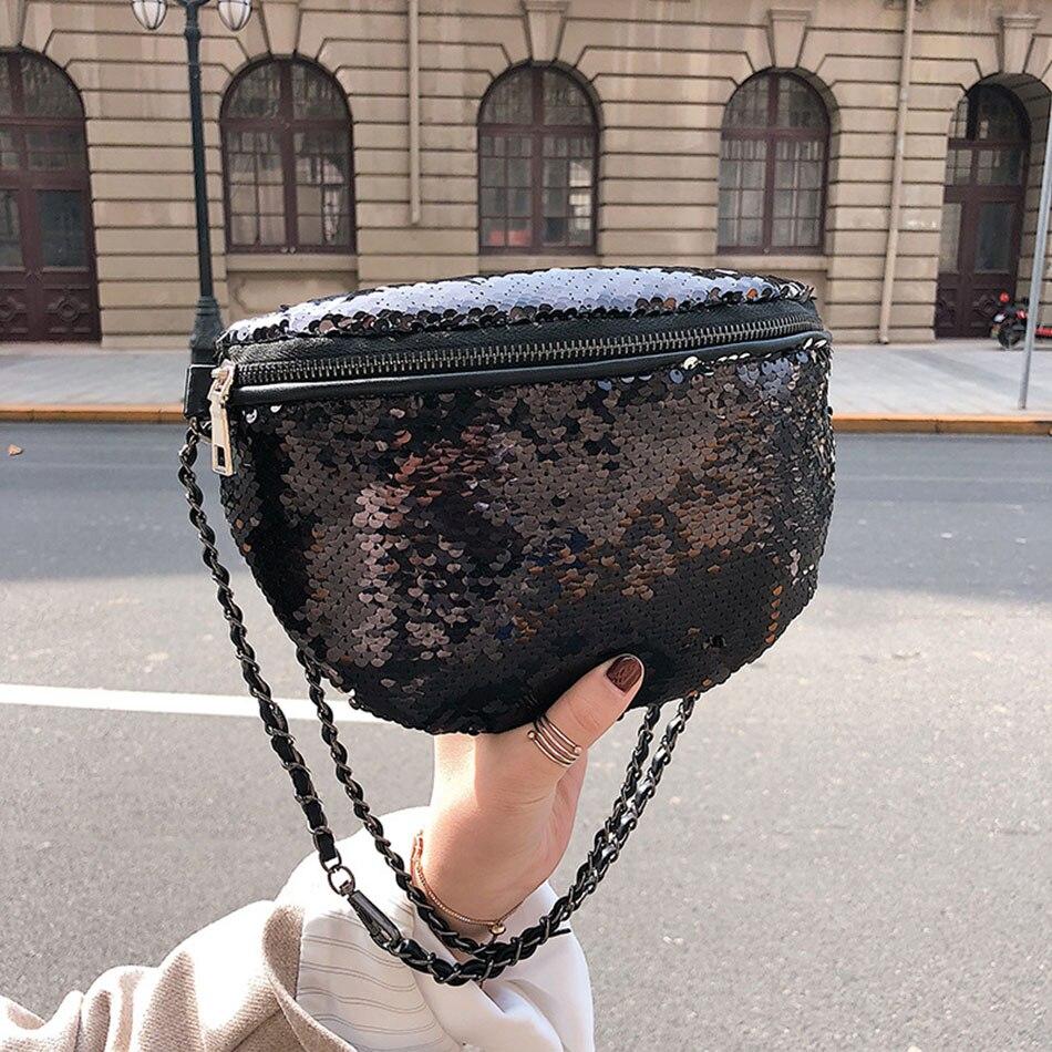 Sequin Waist Bags Women Fashion Gold Fanny Pack Waist Packs Female Belt Chest Bag Phone Pouch Small Chain Crossbody Shoulder Bag