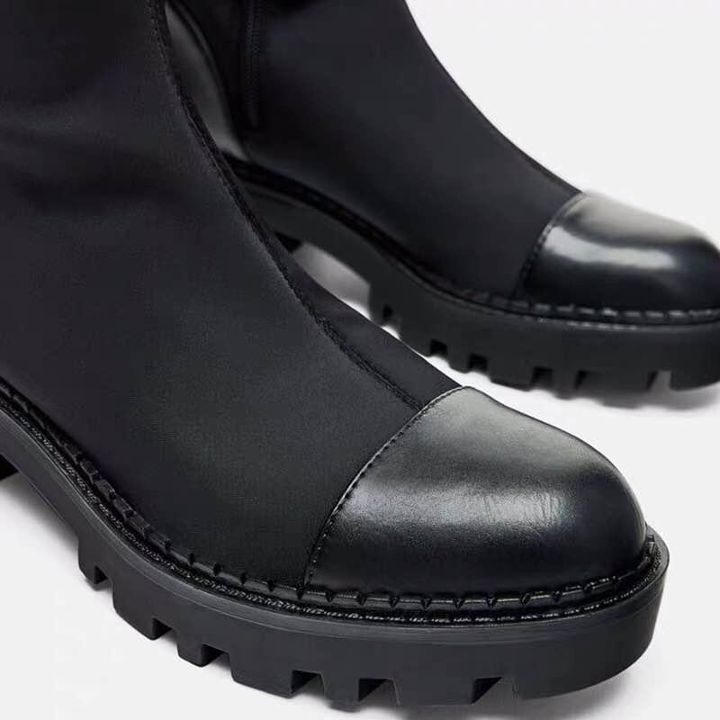 2019 Slim Stretch Lycra genou bottes hautes plate-forme bottes d'hiver femmes bottes longues chaussures d'hiver femmes chaussette bottes sur le genou bottes - 4