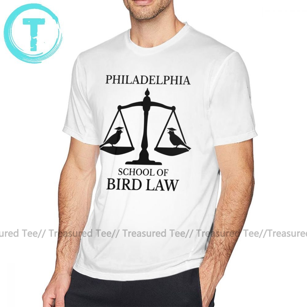 Law T Shirt Philadelphia School Of Bird Law T-Shirt Short-Sleeve Cute Tee Shirt Graphic Summer Male 100 Percent Cotton 5x Tshirt image