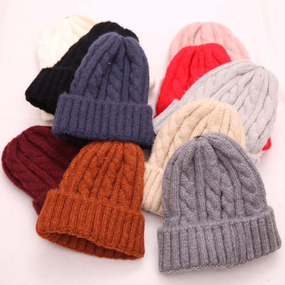 Solid Color Knitted Warm Soft Trendy Hats Ladies Turban Head Wrap Caps Fall Winter Women Twist Simple Hat Cap Birthday Gift