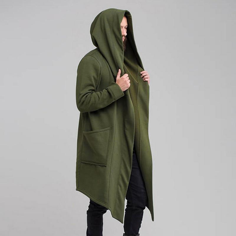 H1ec620d9d73f4f31a4a4cae4169af3aaI Vintage Men Autumn Winter Hoodies Jacket Long Cardigan Coat Casual Hip Hop Solid Pocket Jacket Hooded Outwear Veste Homme