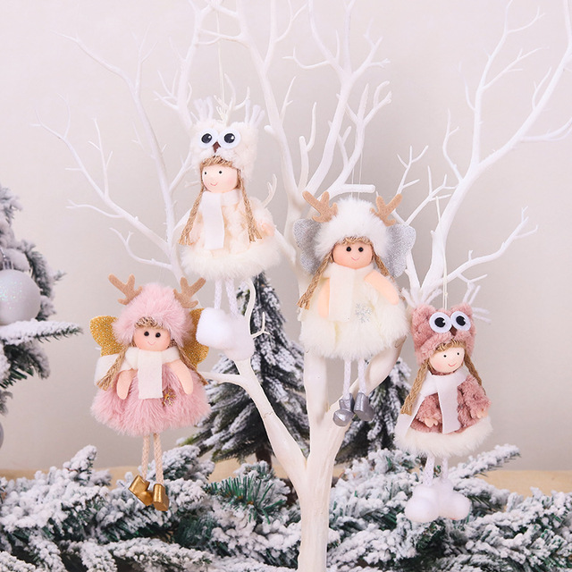 Cute Angel Girl Plush Doll Christmas Pendant Christmas Tree Hanging Ornaments Window Display Xmas Party Decoration Xmas Gift Toy
