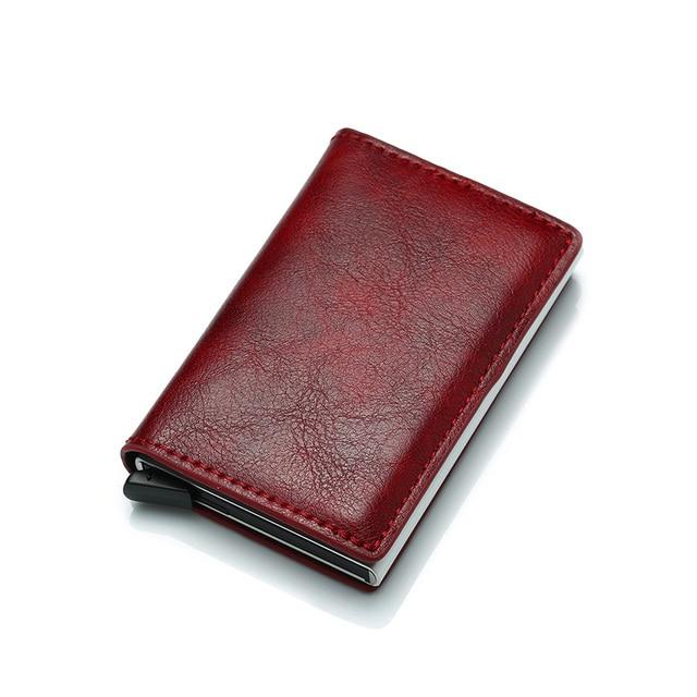 Porte Carte Femme Cuir Rouge Veritable