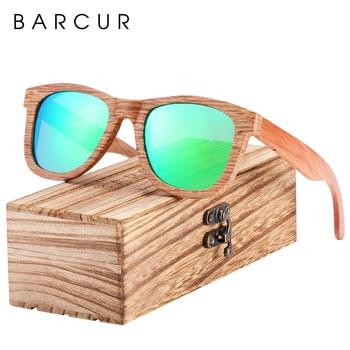 BARCUR Natural Wood Sunglasses Men Polarized Sunglasses Women Traveling Vintage glasses oculos de sol