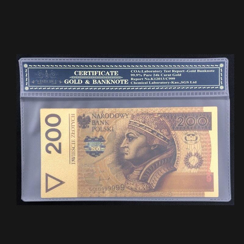 Nice Poland Notas De Ouro Puro Ouro Banknote 200 PLN em 24k Ouro Com COA Quadro Para O Transporte da gota
