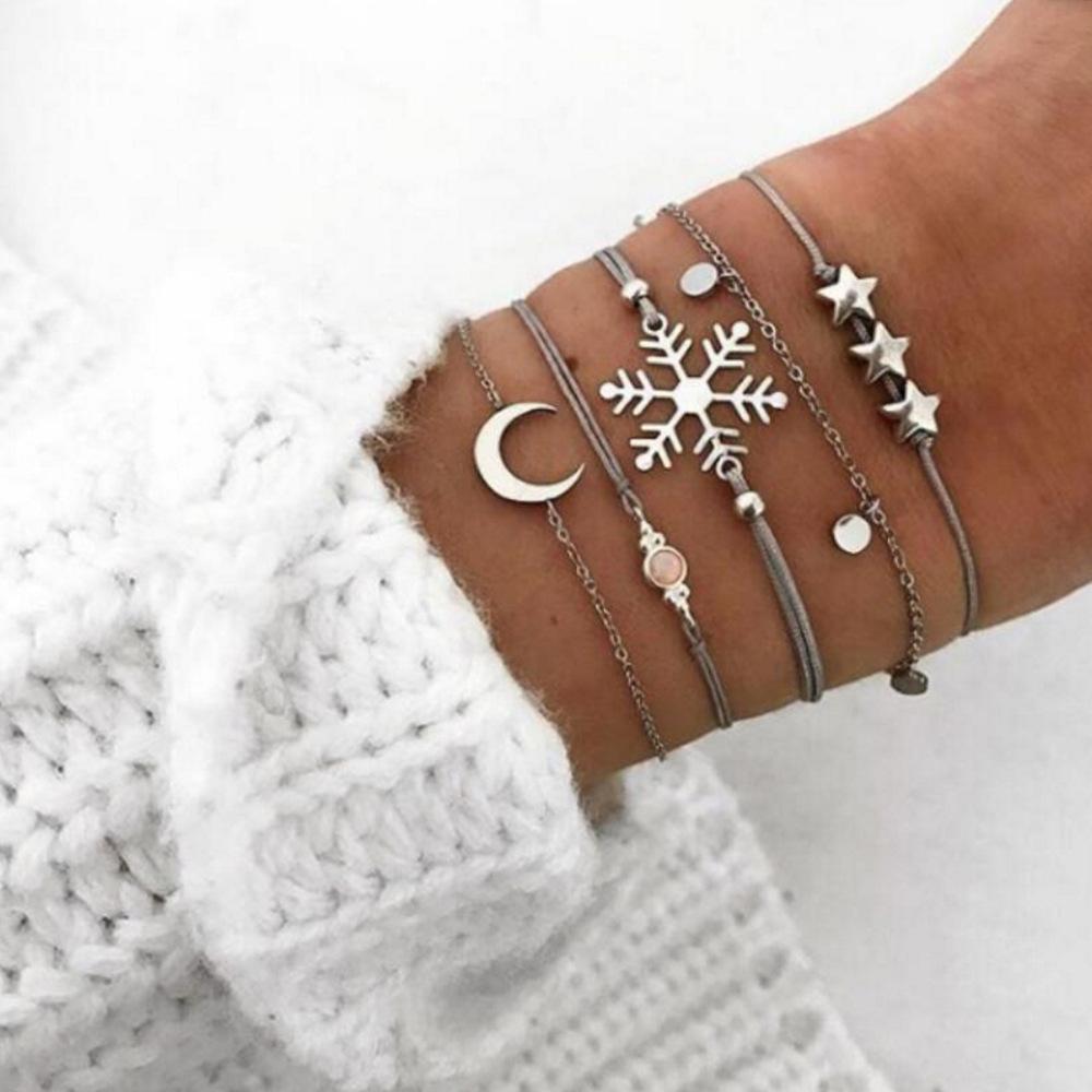 Star Moon Snowflake Opal Bracelets for Women Fashion Bracelet Set Accessory