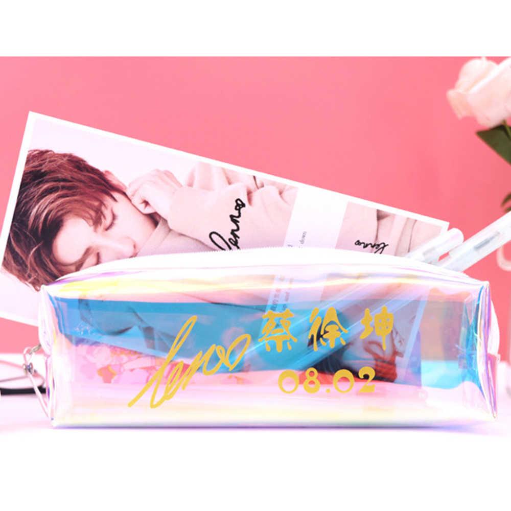 Clear Pencil case Idol Karry Fresh Pen Case Makeup Storage Bag Colorful Transparent Pencil Bag Student Zipper Stationery Pouch