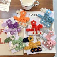 Otoño Invierno 4 unids/set Adorable lana de punto colorido Bowknot flor Clip de pelo horquilla para las Mujeres Niños Accesorios