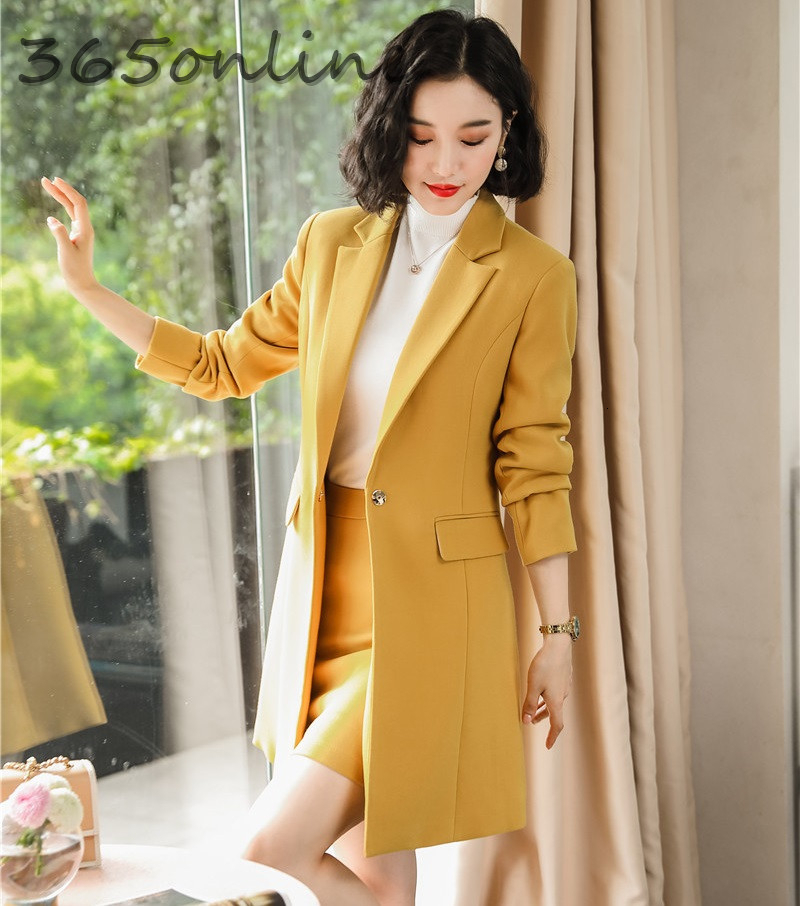 High Quality Fabric Formal Women Business Suits With Skirt And Middle Long Windbreaker Autumn Winter Professional Blazers Set