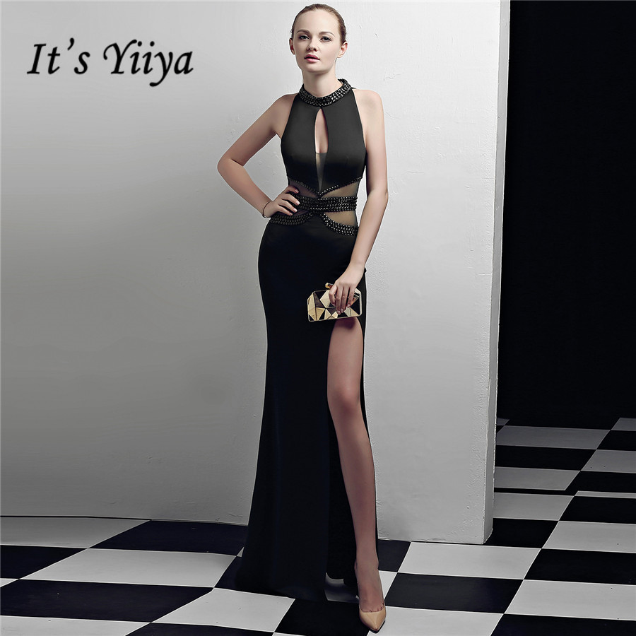 Black Formal Dress It's Yiiya DX374 Sleeveless Cut-out Mermaid Robe De Soiree Illusion Halter Collar Zipper Evening Dresses 2020