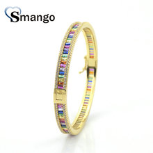 Wholesale Copper Micro Pave CZ Circle Shape Charm Bangle In Glod Colors Top Quality Plating of 3,5,10Pcs,B0106
