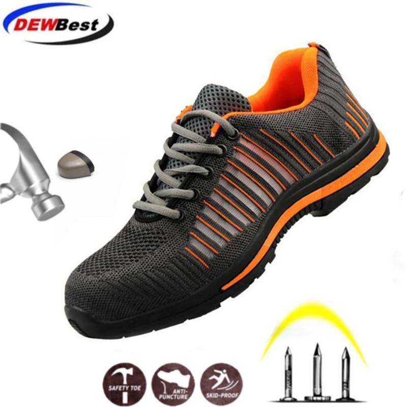 Строительные мужские уличные рабочие ботинки размера плюс со стальным носком; мужские камуфляжные ботинки с защитой от проколов; дышащая обувь - Цвет: safety shoes