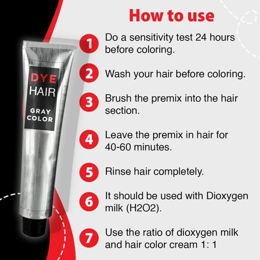 100ml Natural Hair Dye Cream For Beginners Universal Punk Style Party Permanent Smooth Professional Smoky Gray Home Salon L0702 3