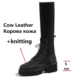 Image 3 - FEDONAS New Winter Warm Women Knee High Boots Night Club Shoes Woman Genuine Leather Knitting Long Boots Fashion Riding Boots
