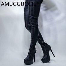 Женские ботфорты на молнии Черные Сапоги выше колена платформе