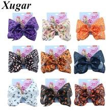 7 Halloween Jojo Siwa Hair Bows Kids Pumpkin Print Ribbon Bowknot Clip for Girls Hanmade Fashion Accessories