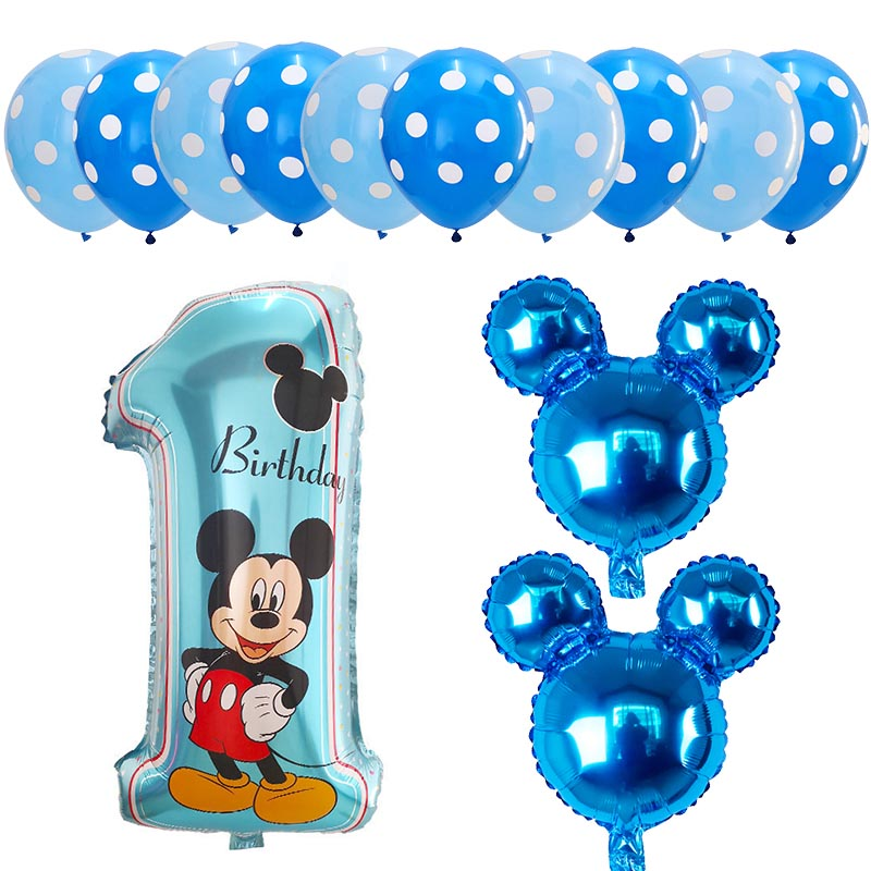 13pcs Mickey Minnie Number 1 First Birthday Girl Boy Balloon Kids Birthday Combination Decoration Helium Balloon Party Supplies