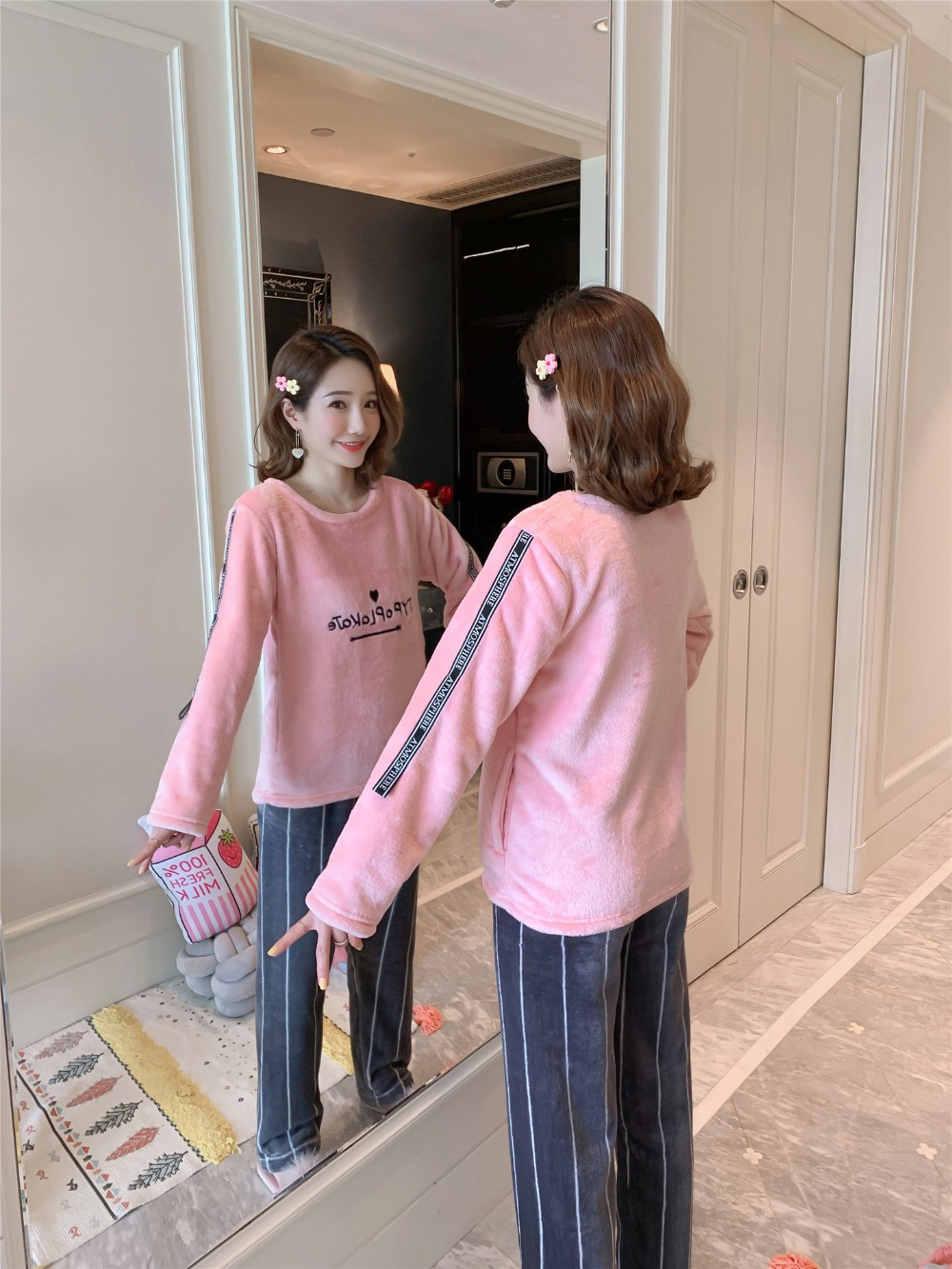 Betyline 2019 New Winter Pajamas For Women Sleepwear Warm Flannel Long Sleeves Pajamas Cute Animal Homewear Thick Homewear 149