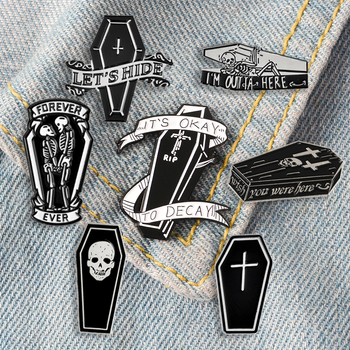 Funny Dark coffin enamel pins Punk Couple skeleton forever brooches Dead Cult clothes bag Lapel pin badges Gothic jewelry gifts image