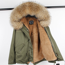 2019 Man Casual Real Fur Coat Real Raccoon Fur Hooded Coat Real Fur Parka Faux Fur Lining Warm Jackets Men Short Winter Jacket cheap FURTJY COTTON Slim Thick (Winter) REGULAR Zippers With Raccoon Dog Fur Collar Liner Detachable Collar Detachable Solid